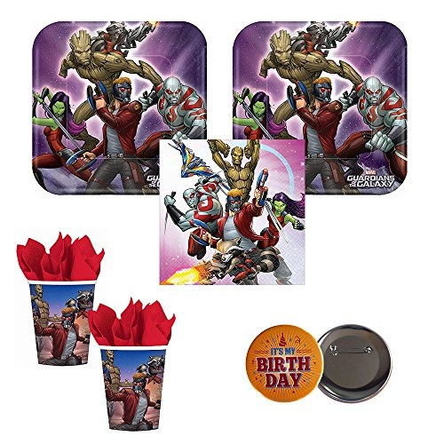 Marvel Guardians of the Galaxy 2 Party Supplies  16 Guests Small Plates, Napkins, Cups