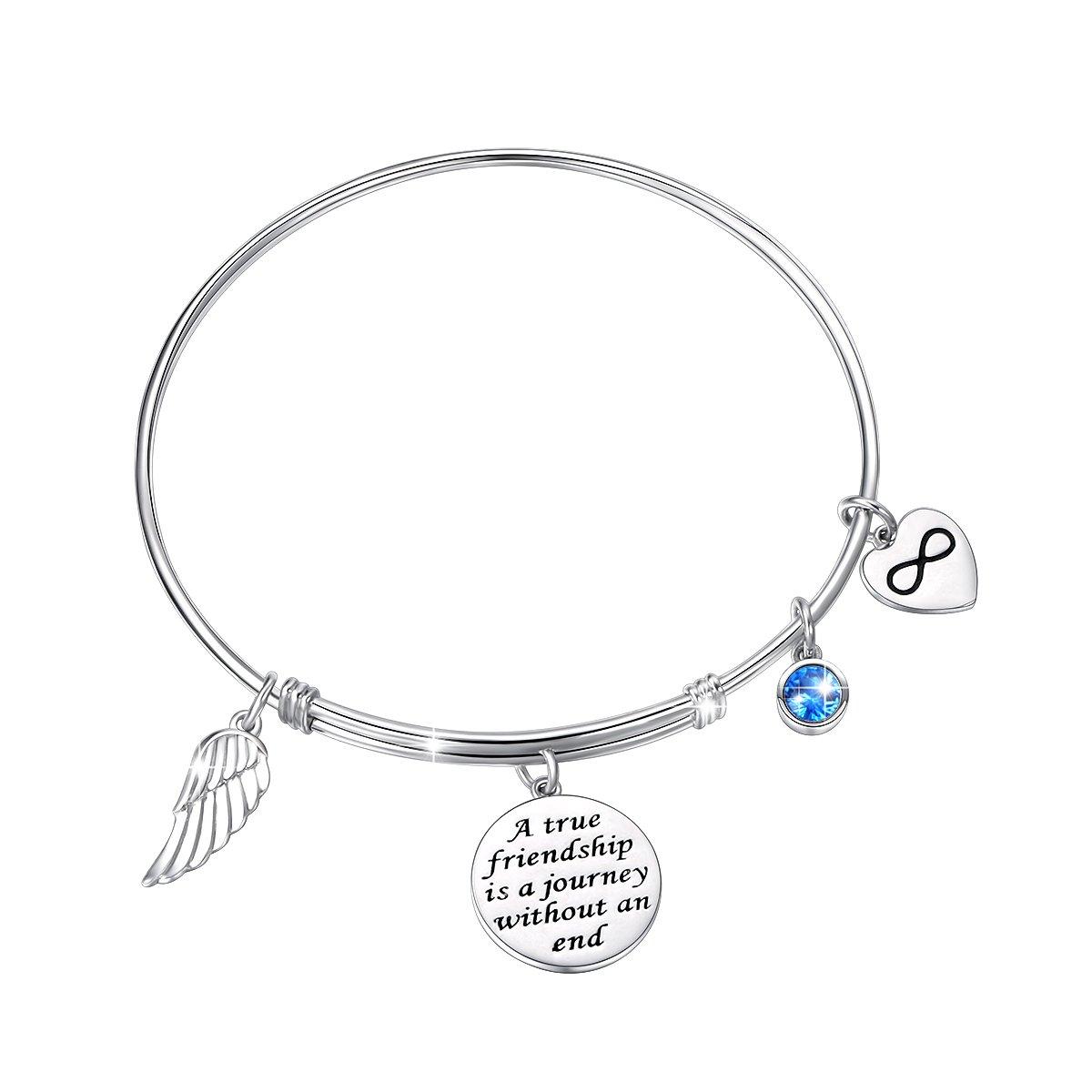JZMSJF for Friends CZ Bracelet 925 Sterling Silver Expandable Inspirational  Motivational/Friendship Meaningful/Love/Memorial Thankful