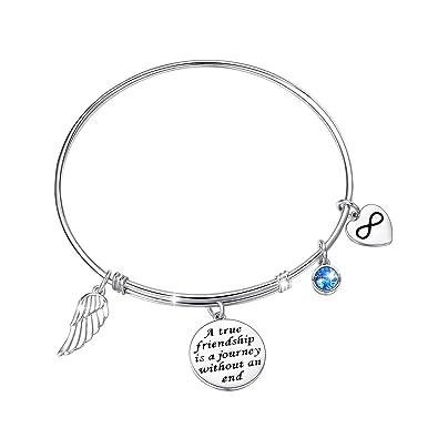 da547b624f129 JZMSJF for Friends CZ Bracelet 925 Sterling Silver Expandable Inspirational  Motivational/Friendship Meaningful/Love/Memorial Thankful ...