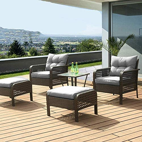 LUCKWIND Patio Sofa Chair Table Ottoman – 5 Piece All-Weather Brown Checkered Wicker Rattan Seating Olefin 3-Layered Ergonomic Cushion Modern Glass Coffee Table Outdoor 300lbs Grey