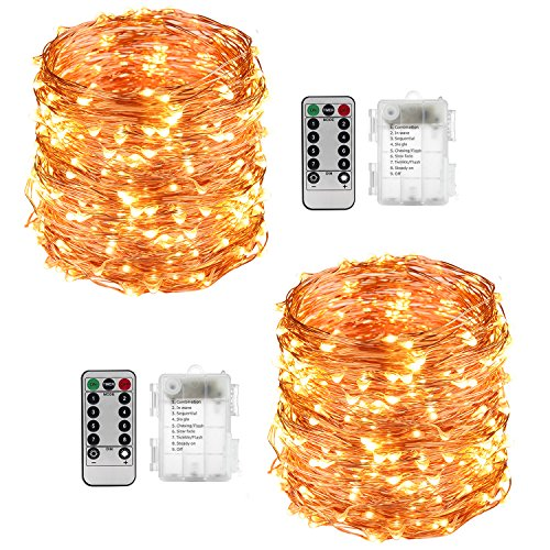 LightsEtc 2 Pack 100 LED String Lights Copper Wire 33ft Warm White Light 8 Modes Remote Control (Jar Spring)