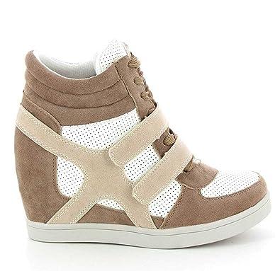 Talon Haut En Urban – Sneakers Tennis Chic Chaussure Lacet–pu Femmes Scratch Casuel Compensées Daim Suède Montantes Baskets Bi Matière QCxeWrdBo