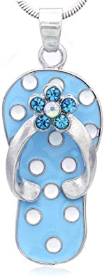 Opal Sterling Silver Flip Flop Charm 925 Sterling Silver Blue Opal Sandal Beach Sandal Pendant For Necklace Beach Jewelry