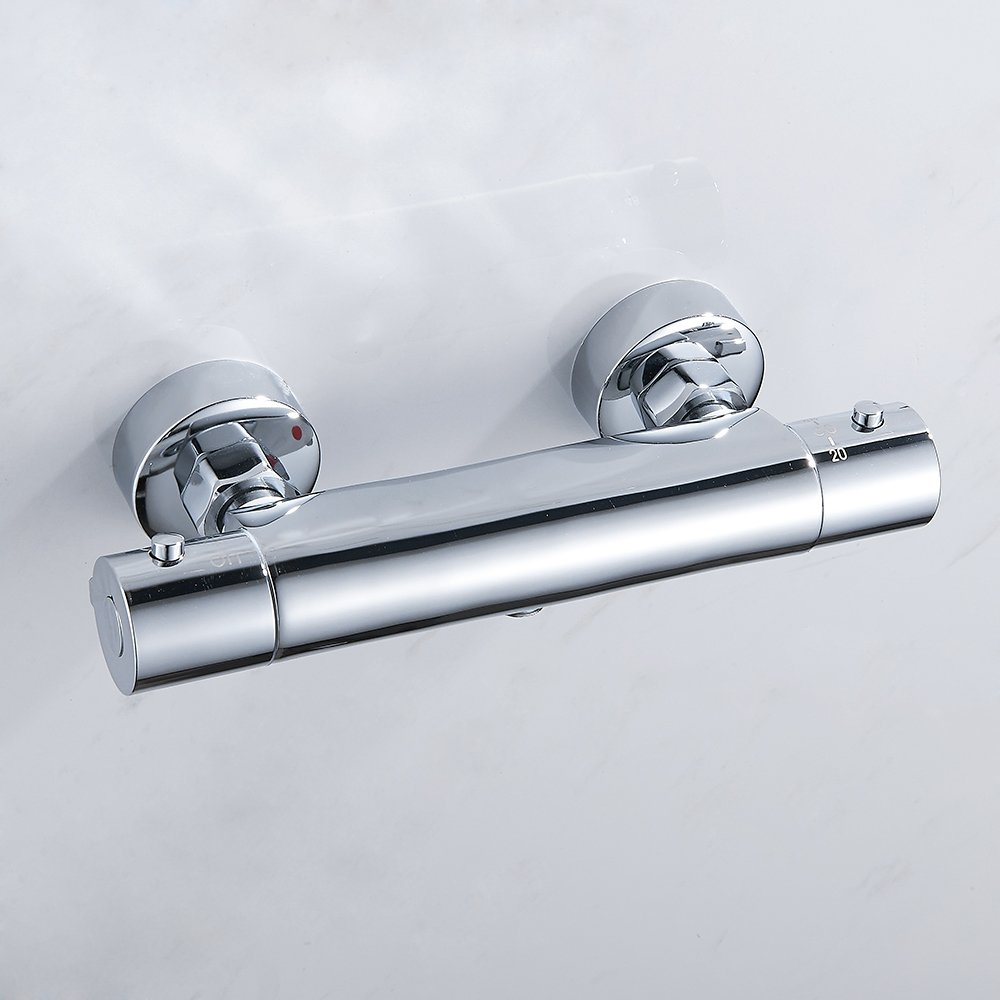 Thermostatic Shower Mixer Tap Wall Mounted Hot Cold Water Constant Temperature Control Exposed Thermostatic Shower Valve for Bathroom