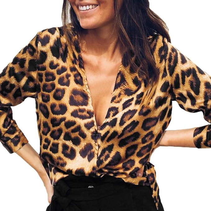 Blusa de Mujer con Cuello en V Estampado Leopardo, Camisetas de Moda otoño
