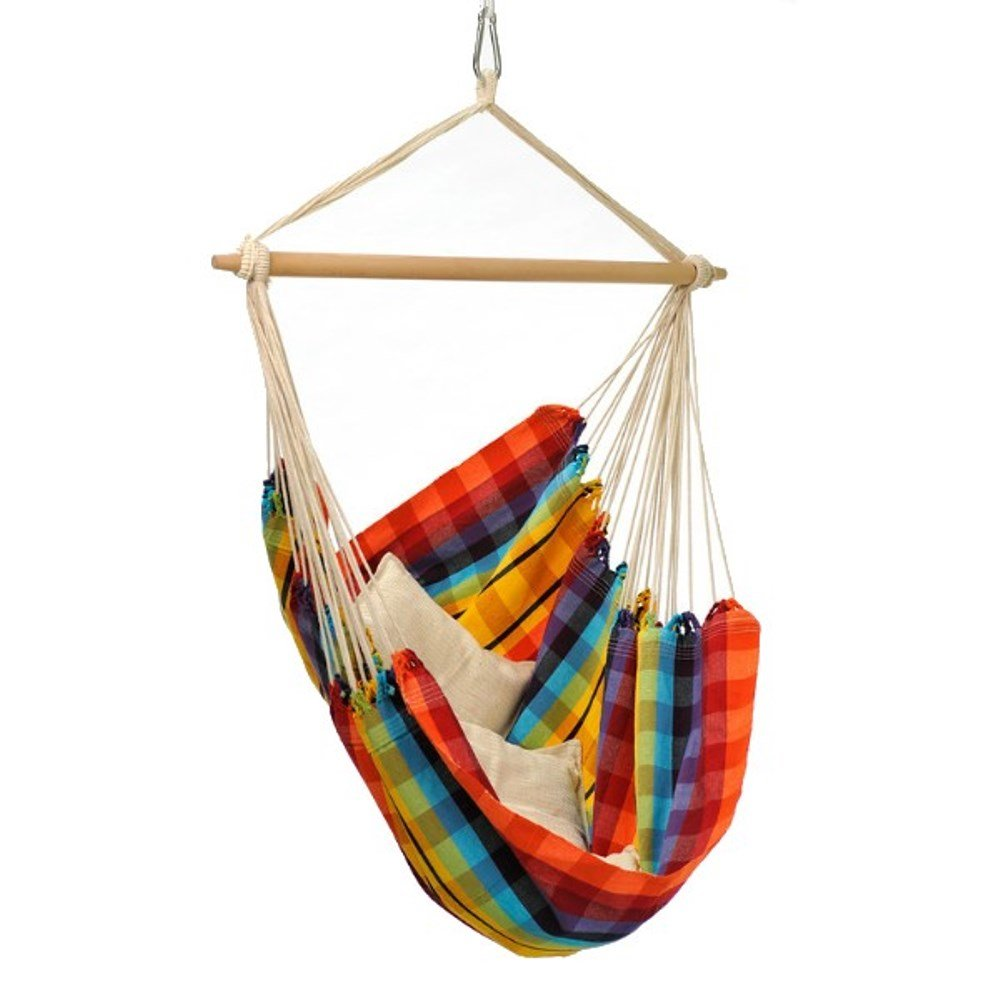 Brazil Hanging Hammock Chair, Indoors and Outdoors, Recycled Cotton Polyester Blend Canvas, Handwoven, Rainbow, 68 L X 42 W, Holds up to 240lbs