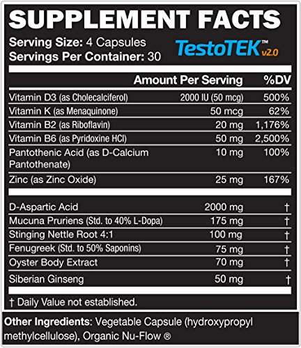 3 Bottles of TestoTEK™ v2.0 All Natural #1 Rated Testosterone Booster - 12 Ingredients, 360 Pills, 90 Day Supply - Strength, Energy, Stamina and More (3) by TEK Naturals (Image #1)