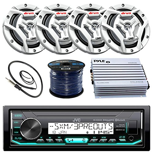 JVC Marine Boat Yacht Radio Bluetooth Media Player Receiver Bundle Combo With 4 x 6.5 2-Way Coaxial White Speakers & 4Ch (Bundle Combo)