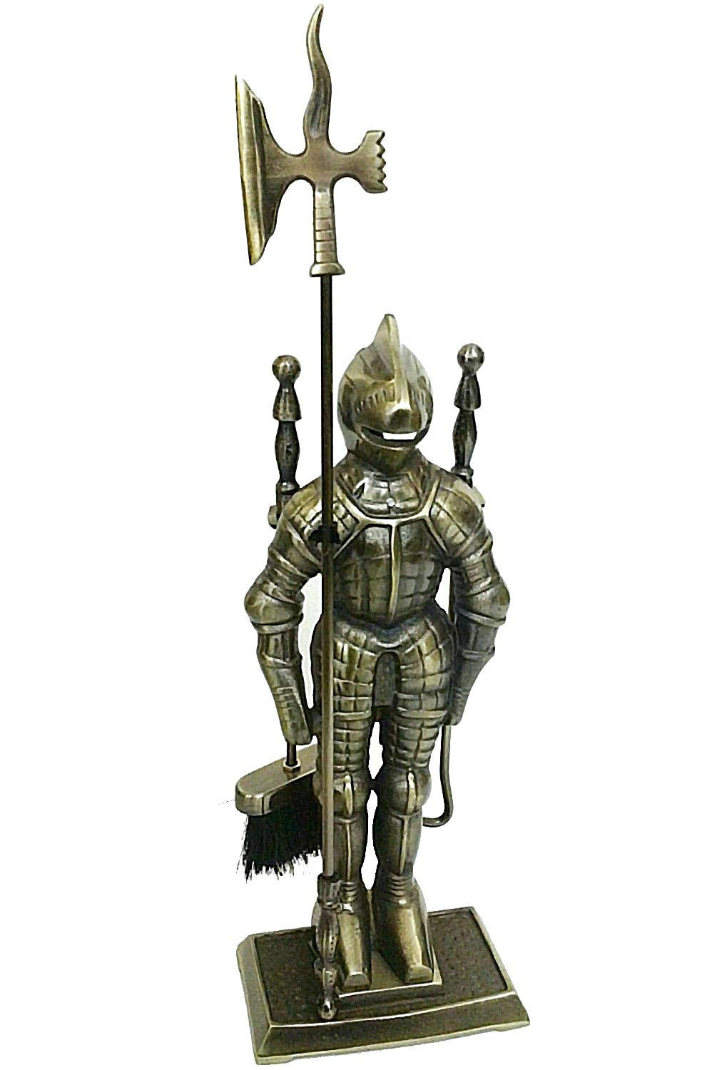 Lizh Metalwork Middle Ages Knight Cast Iron Fireplace Tool Set,Antique Brass by Lizh Metalwork