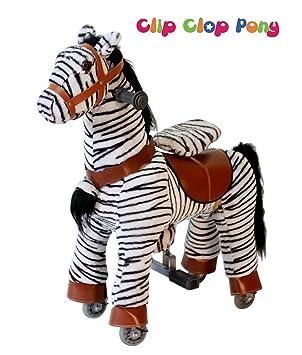 CLIP CLOP PONY - Caballo con modo balancín o con ruedas (para niños de 3-7 años, hasta 35 kg), diseño de cebra: Amazon.es: Juguetes y juegos