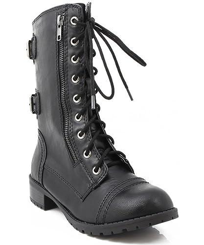 Soda Dome-SA Vegan Lace Up Mid Calf Women Military Boot