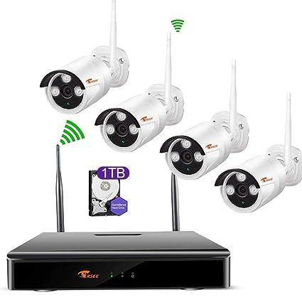 Camaras De Vigilancia Wifi,CORSEE Kit Sistema de Seguridad Inalámbrico 720P Con 1TB Disco Duro