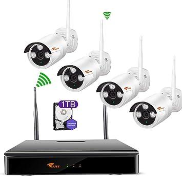 Camaras De Vigilancia WiFi,CORSEE 4 Canales 1080 P NVR+4 Pieza 1080P Cámaras Inalámbrica Sistema De Vigilancia CCTV Construido en 1TB Disco Duro: Amazon.es: ...