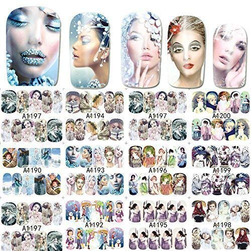 12 sets Hunger games Disney Frozen gypsy bohemian snow queen NAIL DECALS ice princess snowflake NAIL WRAPS rainbow water transfer NAIL STICKERS Polynesian Hawaii grass Malu tatau NAIL FOILS