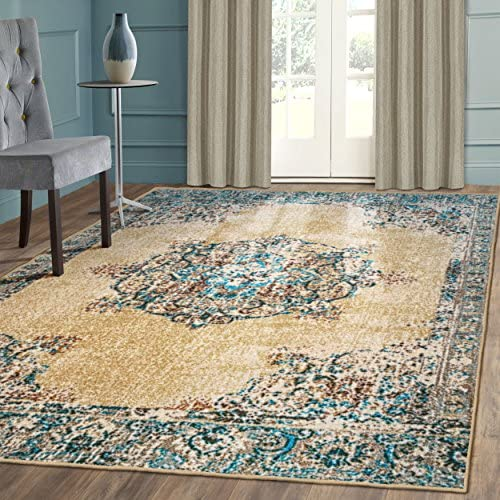 Superior s Designer Non-slip Decklan Area Rug Digitally Printed, Low Maintenance, Affordable and Fashionable, Cream – 8 x 10