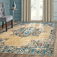 Superiors Designer Non-slip Decklan Area Rug; Digitally Printed, Low Maintenance, Affordable and Fashionable, Cream - 5 x 8