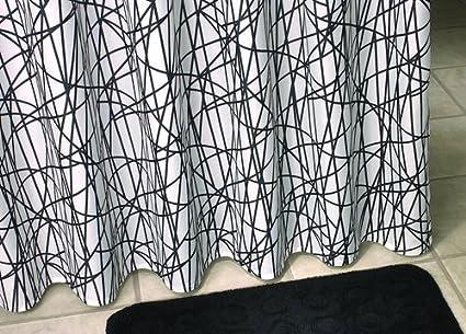 Tenda doccia tessuto motivo linee croce e orizzontale colore