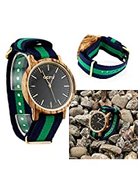 Men's Wood Wrist Watch, Wooden Quartz Analog Wristwatch, Bamboo Casual Business Watch with Nylon Multi-Color Striped Band - Zebra Wood