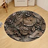 Gzhihine Custom round floor mat Low Relief Cement Thai Style Handcraft of Buddhism Philosophy