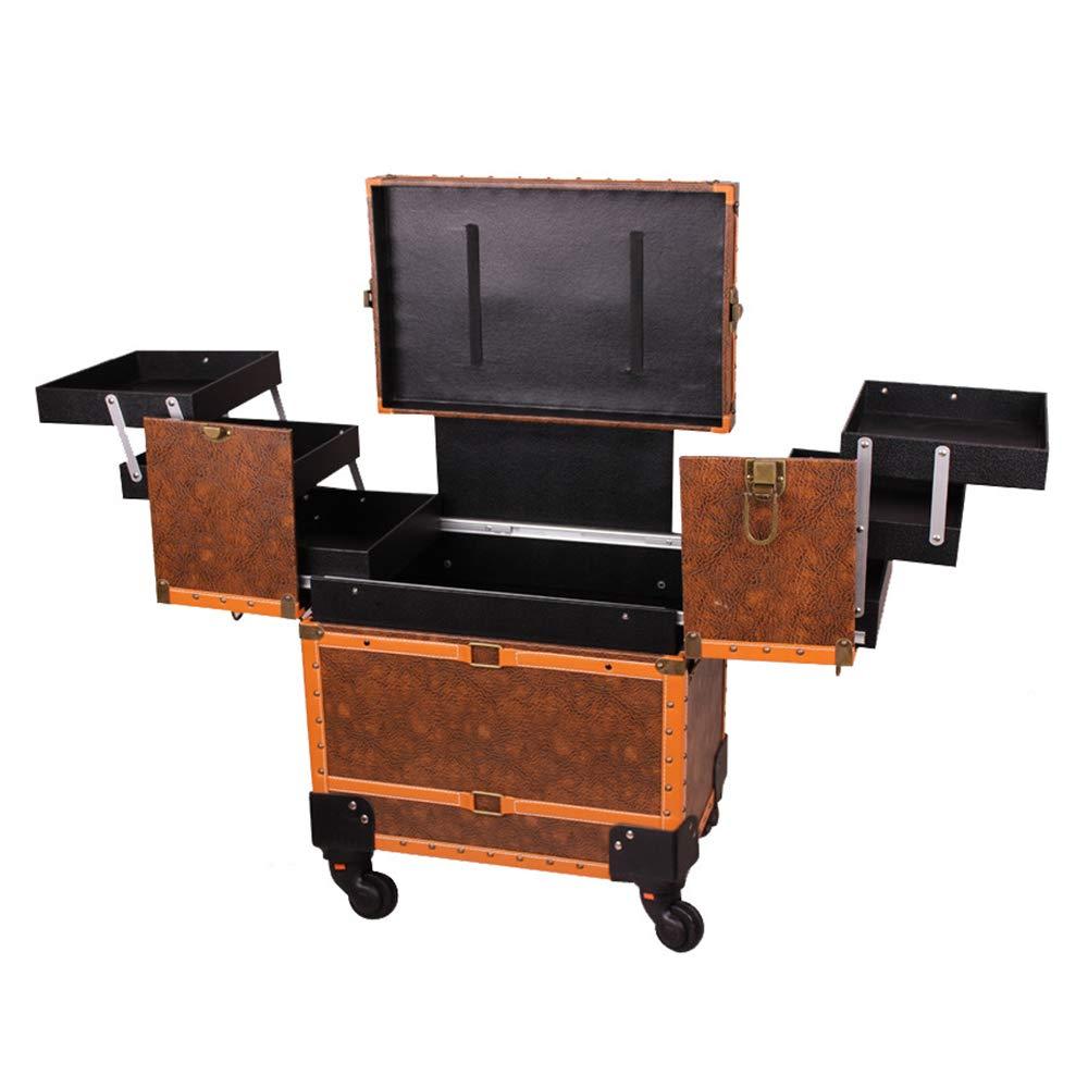 多機能化粧トロリーケース、ネイルサロンツールビューティーボックスに適した多層大容量ロック可能な旅行美容トロリー ZDDAB  orange B07R7QY3FC