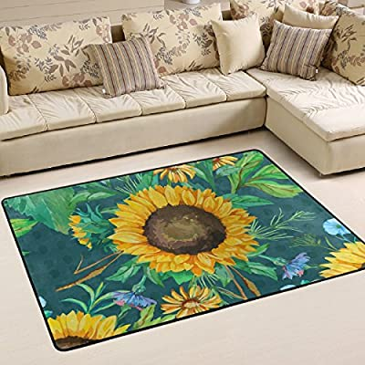 WOOR Watercolor Sunflowers And Green Leaves Living Area Rugs for Living Room Bedroom Dining Office 6 x 4 Feet Modern Floor Mat Home Decor