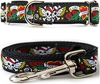 "product image for Diva-Dog 'Wild One' Medium & Large Dog 1"" Wide Chainless Martingale Dog Collar, Matching Leash Available - MD, LG, XL"