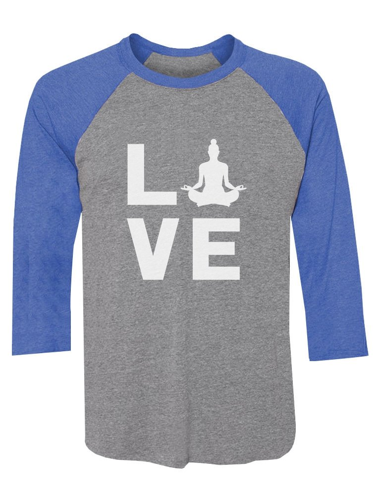 Tstars Love Yoga Gift for Yoga Lovers Buddha Zen 3/4 Sleeve Baseball Jersey Shirt XX-Large Blue/Gray