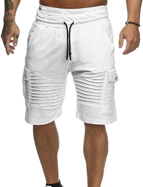 ZEZKT Short Homme Bermuda Couleur Unie Corde