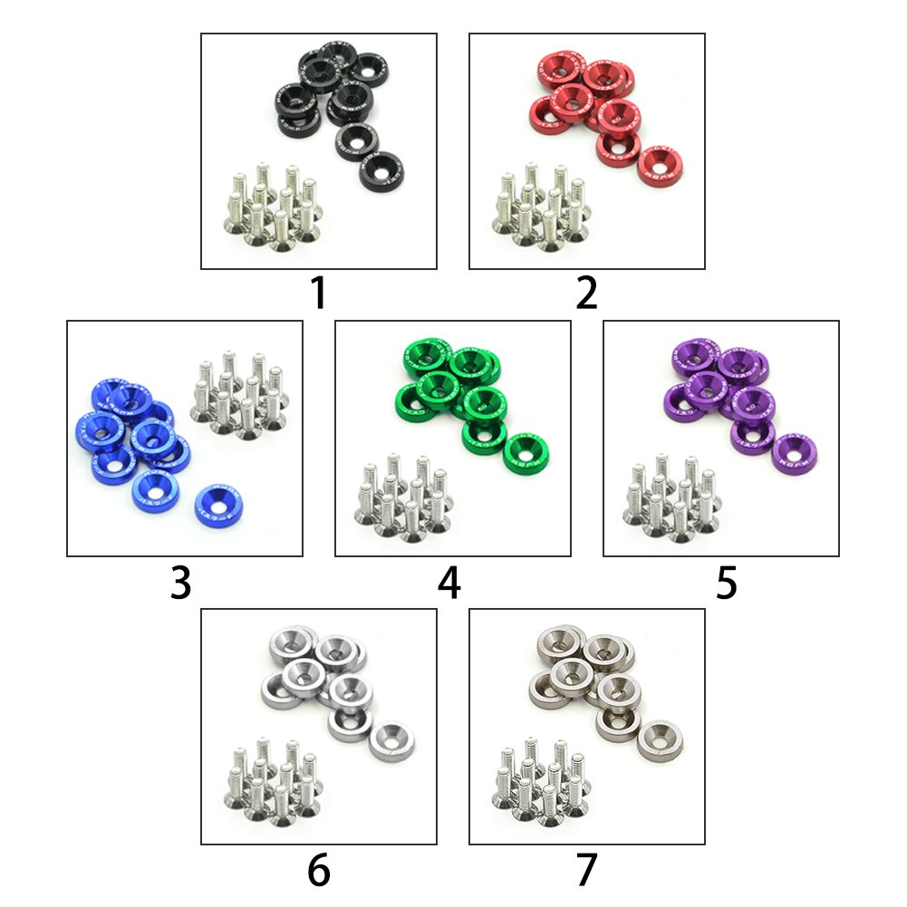 Blue LYCOS3 10PCS M6 x 20 Car Styling Universal Modification Fender Washer License Plate Bolts 6 Colors Auto Accessories Aluminum Engine Bay Fender Bumper Dress Up Washers Kit