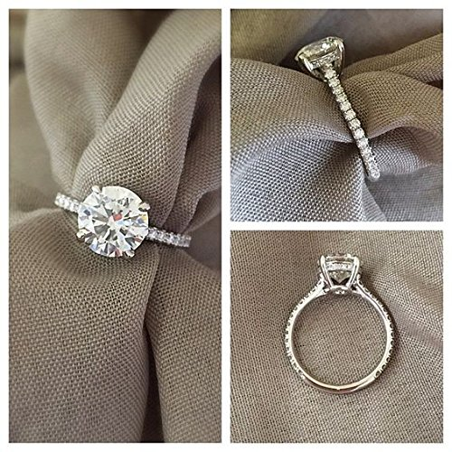 1 Ct Cubic Zirconia Simulated Diamond Engagement Ring Pave Band in Sterling Silver Size 7