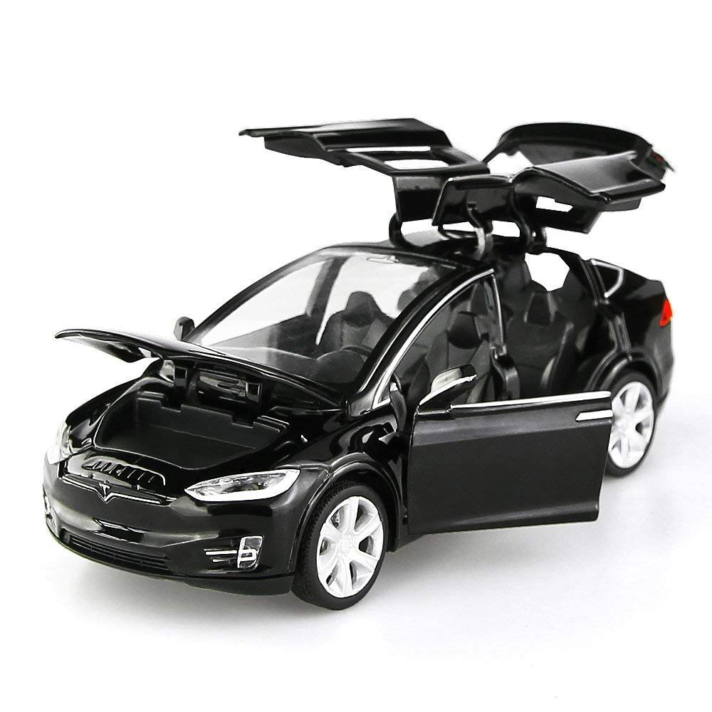 Nessere 1/32 Diecast Model Cars Tesla Toy Cars Model X 90 Alloy Pull Back with Sound & Light (Black)