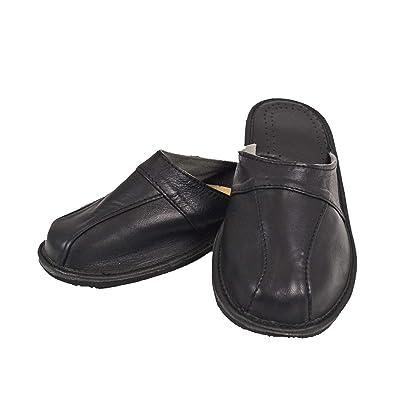 8f4fe1eb7870 DF-SOFT Herren Herrenpantoffel Pantoffel Hausschuhe Haus Schuhe Leder  Pantoffel Lederpantoffel Pantoletten Schlappen Modell 79