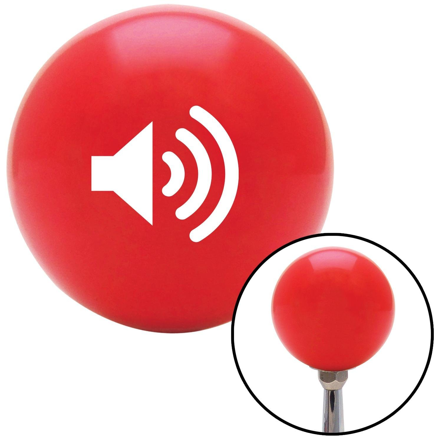 American Shifter 98630 Red Shift Knob with M16 x 1.5 Insert White Speaker On