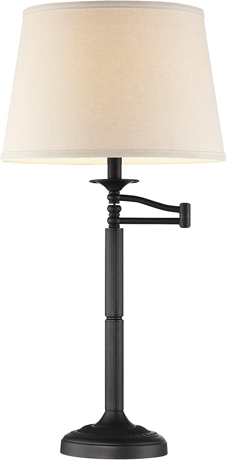 "Kira Home Fremont 30"" Traditional Swing Arm Table Lamp + Light Gray Shade, 7W Bulb (Energy Efficient/Eco-Friendly), Matte Black Finish"