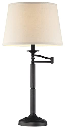 Kira Home Fremont 30 Traditional Swing Arm Table Lamp Light Gray Shade, 7W Bulb Energy Efficient Eco-Friendly , Matte Black Finish