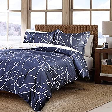 Bedsure 3 Piece Duvet Cover Set (1 Duvet Cover + 2 Pillow Shams) Printed Duvet Cover King Set with Ultra-Soft Microfiber Navy Branch & Plum