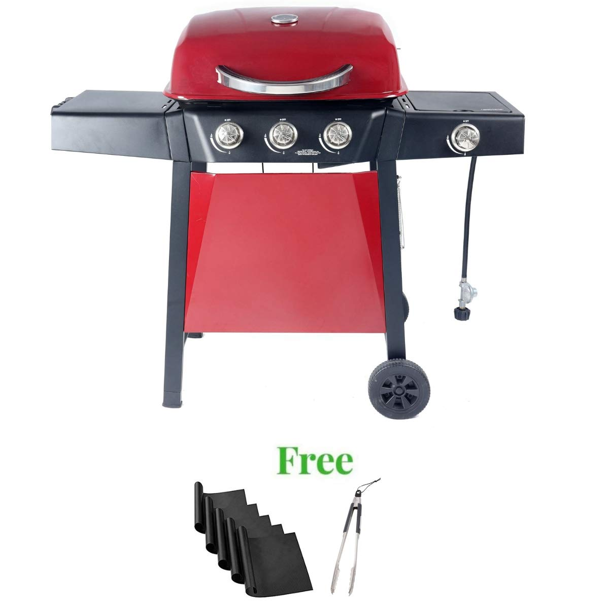 Durable Outdoor Barbeque & Burger Gas/Charcoal Grill (3-Burner Gril + Freebie, Red)