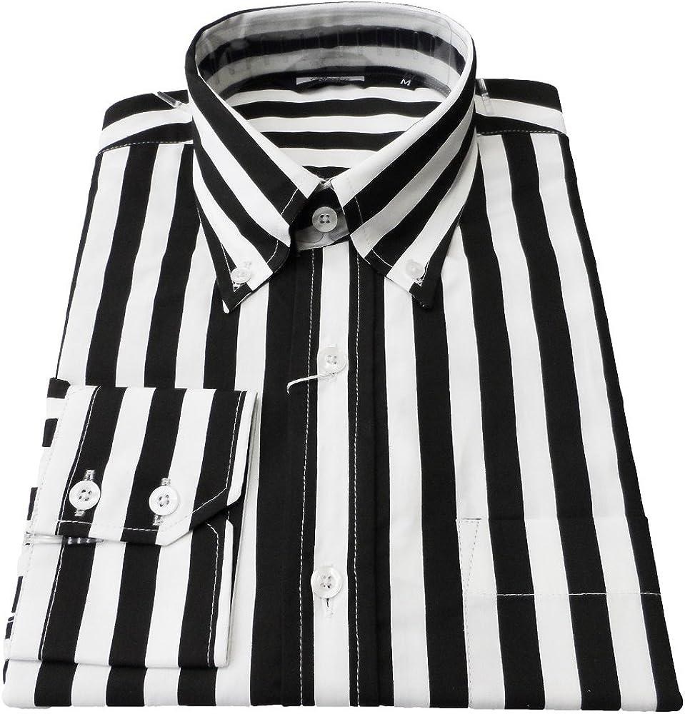 1960s Mens Shirts | 60s Mod Shirts, Hippie Shirts Retro Mod Relco Vintage Black/White Stripe 100% Cotton Button Down Shirt`s £34.99 AT vintagedancer.com