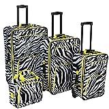 Rockland F105 Luggage Set, Lime Zebra, One Size, 4-Piece