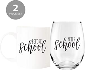 Before School/After School Coffee Mug and Stemless Wine Glass Gift Set/Teacher Gift/Daycare Gift