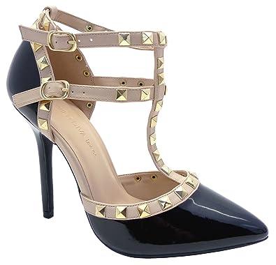 20e02ea288 Wild Diva ADORA-64 Women's High Heel Studded Pumps (Black Patent) (5.5