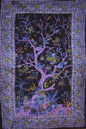 Tree of Life Tapestry-Wall Hanging-Coverlet-88'' x 106'' by India Arts