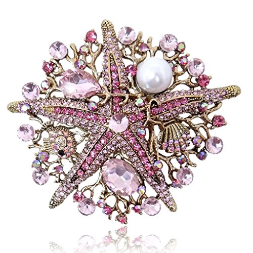 EVER FAITH Vintage Style Starfish Simulated Pearl Brooch Pink Austrian Crystal Antique Gold-Tone