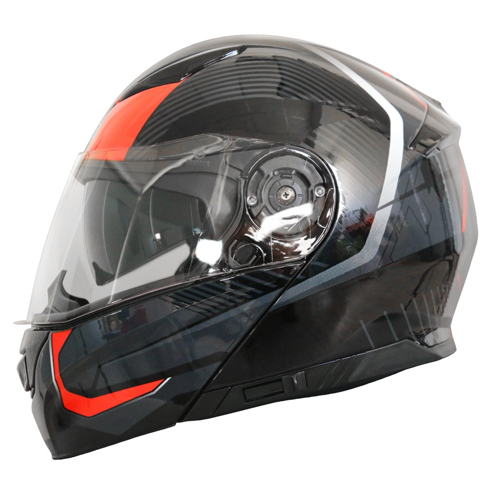 Matt Black L Leopard LEO-888 DVS Flip up Front Helmet Motorcycle Motorbike Helmet with DOUBLE SUN VISOR