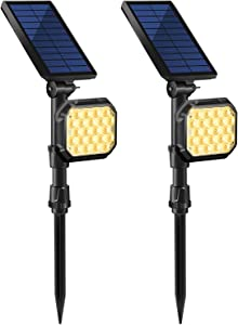 MZVUL 22 LED Solar Lights Outdoor, Waterproof Solar Landscape Spotlights 2-in-1 Adjustable Solar Wall Light Auto On/Off Solar Powered Landscape Lighting for Yard Garden Pathway Pool,Warm White(2 Pack)