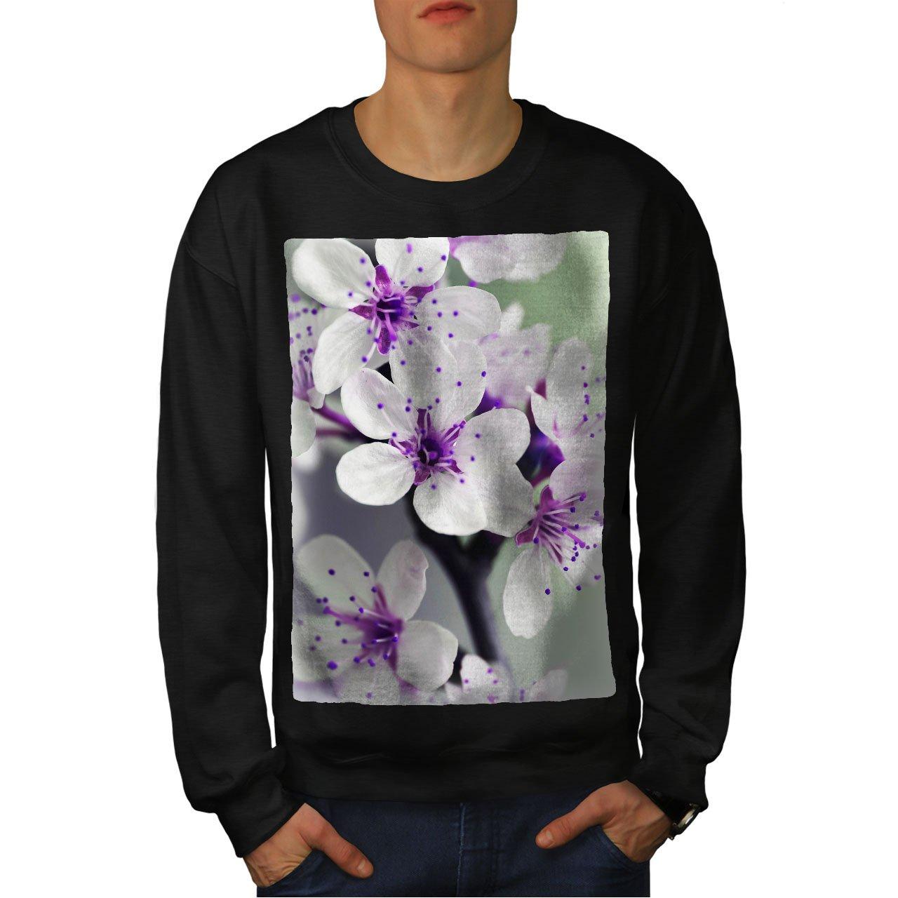 Nature Casual Jumper wellcoda White Flower Photo Mens Sweatshirt