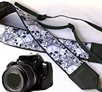 Sugar skull camera strap. Modern DSLR / SLR Camera Strap. Grey skulls camera strap. Durable, light weight and well padded camera strap. code 00086
