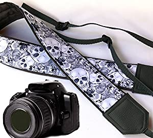 Sugar skull camera strap. Modern DSLR / SLR Camera Strap. Grey skulls camera strap. Durable, light weight and well padded camera strap. code 00086