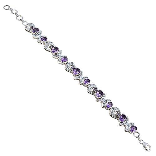 9791517e4832 Pulsera de plata de ley 925 con amatista púrpura facetada y piedras  preciosas reales - joyería al por mayor venta de artículos regalo para los  nuevos años ...