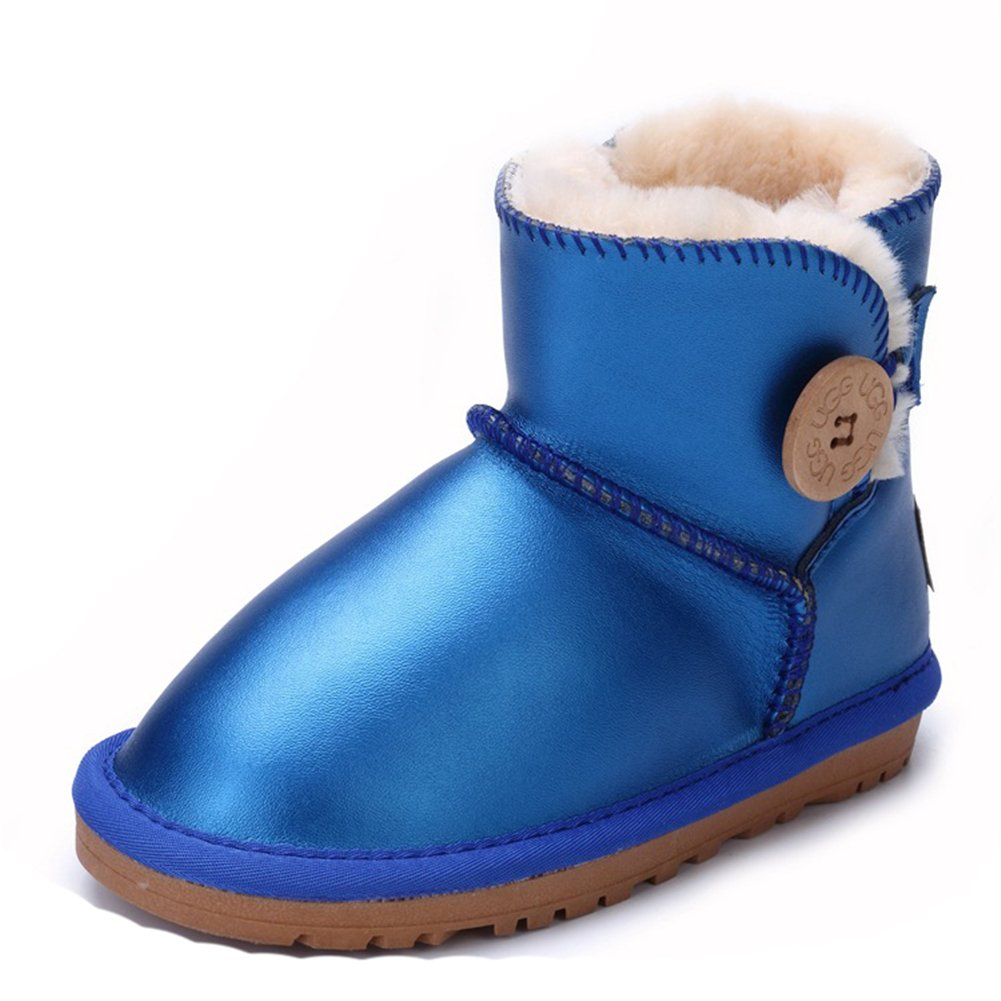 Zhoumei Girls Boys Leather Button Snow Boots
